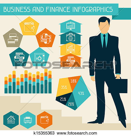 Clipart of Banking services infographic. k15298385.