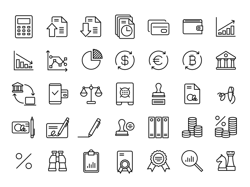 30+ Relevant Office & Business Icons Collection.
