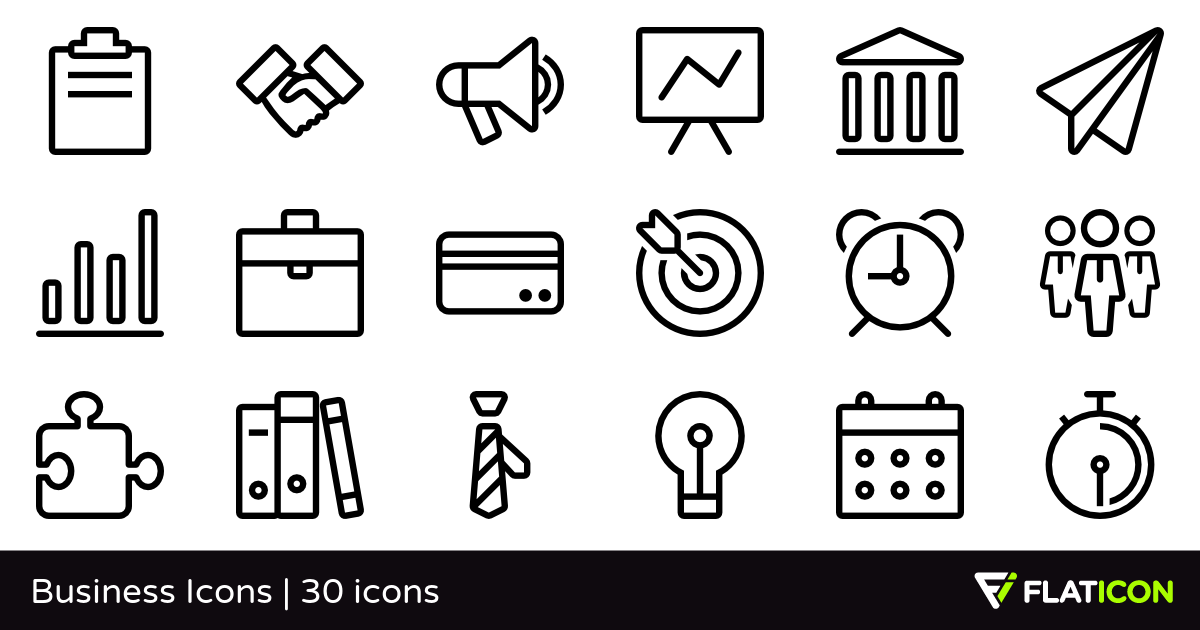 Business Icons 30 free icons (SVG, EPS, PSD, PNG files).