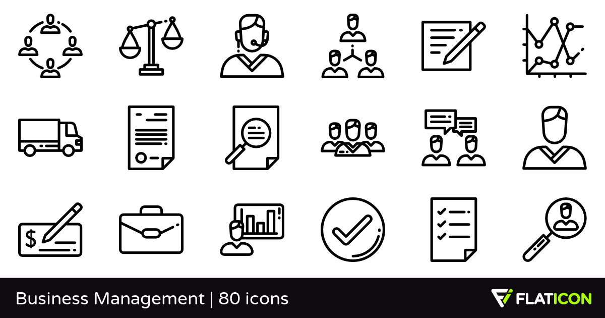 Business Management 80 free icons (SVG, EPS, PSD, PNG files).