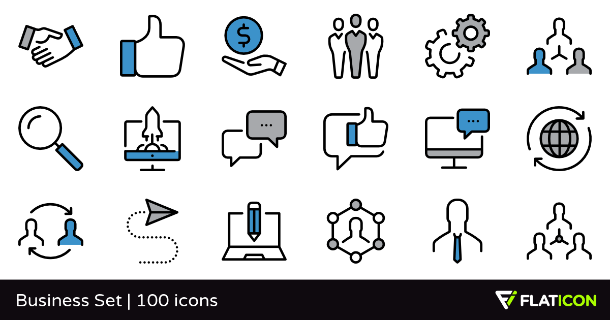 Business Set 100 free icons (SVG, EPS, PSD, PNG files).