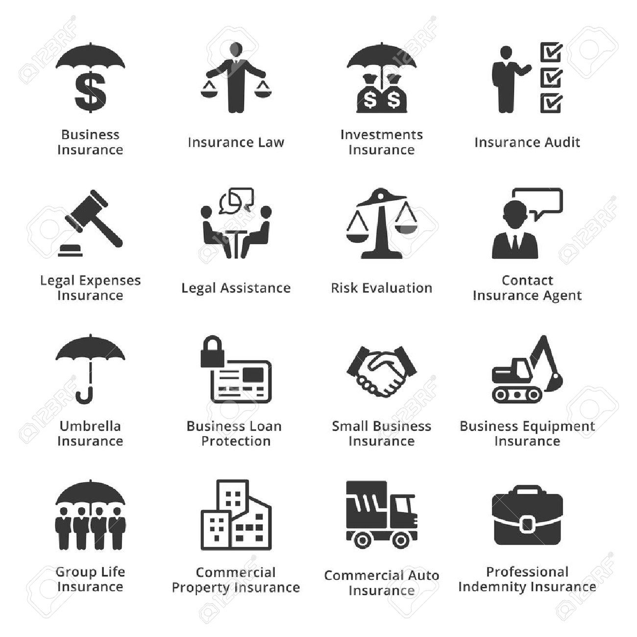 This set contains business insurance icons that can be used for...