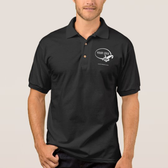 Men\'s Black Business Polo Shirt with Custom Logo.