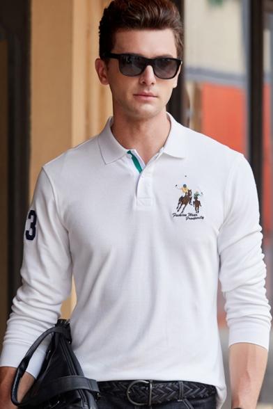Men\'s High Quality Cotton Long Sleeve Casual Business Logo Polo Shirt.
