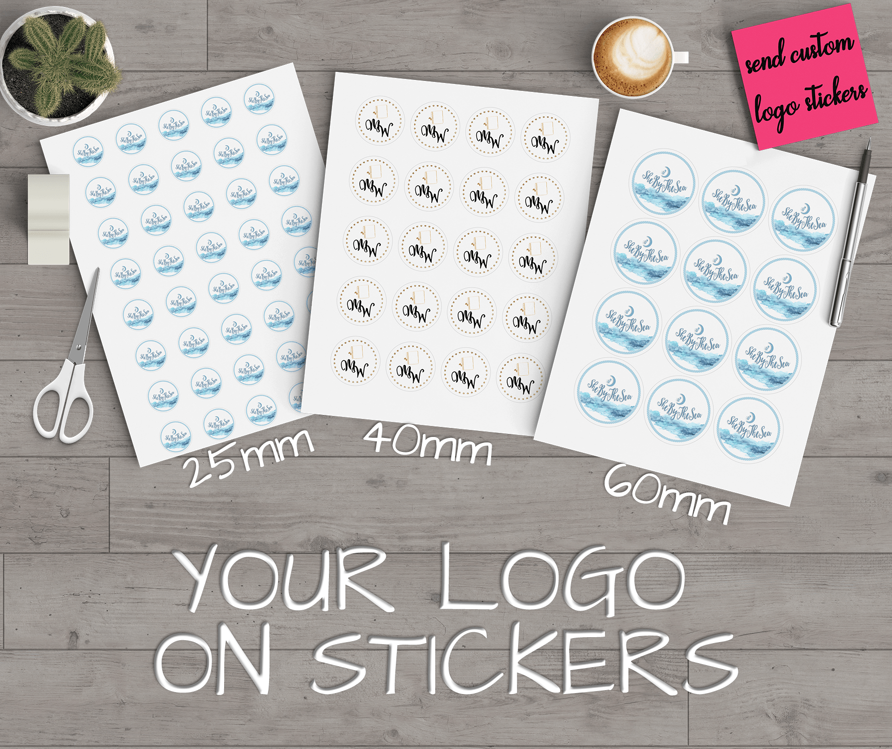 Custom Logo Stickers, Round Personalised Stickers, Business.