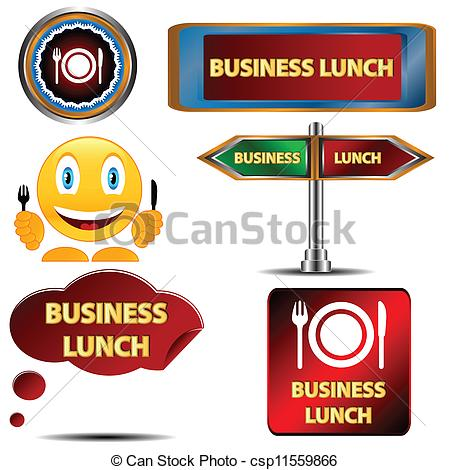 Clip Art Vector of Business lunch set on a white background.