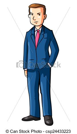 Vector Illustration of Business man Using Coat Cartoon.