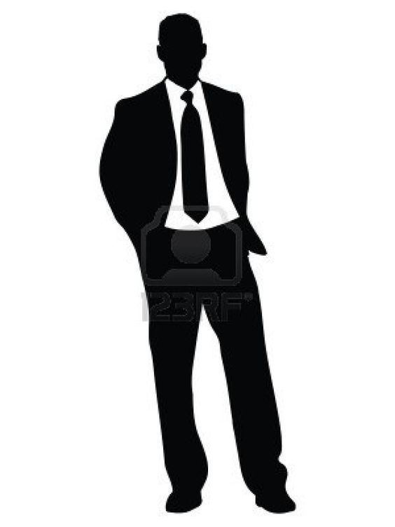 Clipart of silhouette of three african american business men.