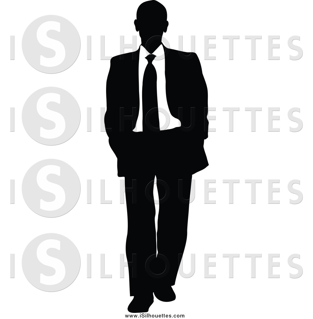 Clipart of a Walking Silhouetted Black and White Business Man by.