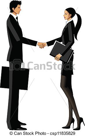 Vector Illustration of Business man and woman shaking hands.