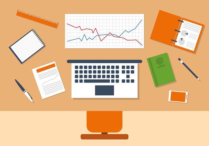Orange Business Manager Workspace Vector Illustration.