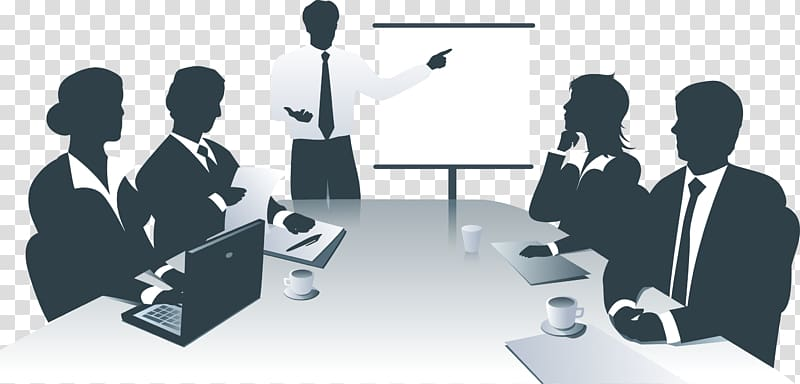Man having meeting with colleagues illustration, Business.