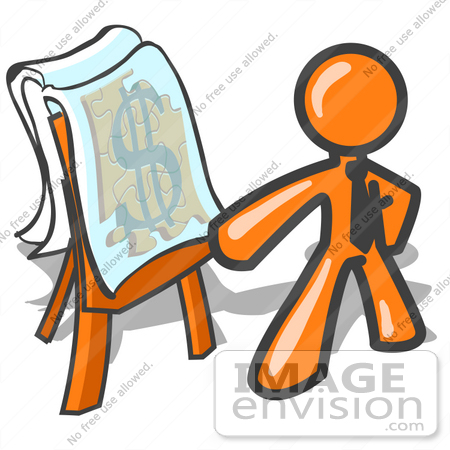 Clip Art Graphic of an Orange Guy Character Wearing A Business Tie.