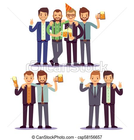 Happy friends, business people at party vector friendly concept.