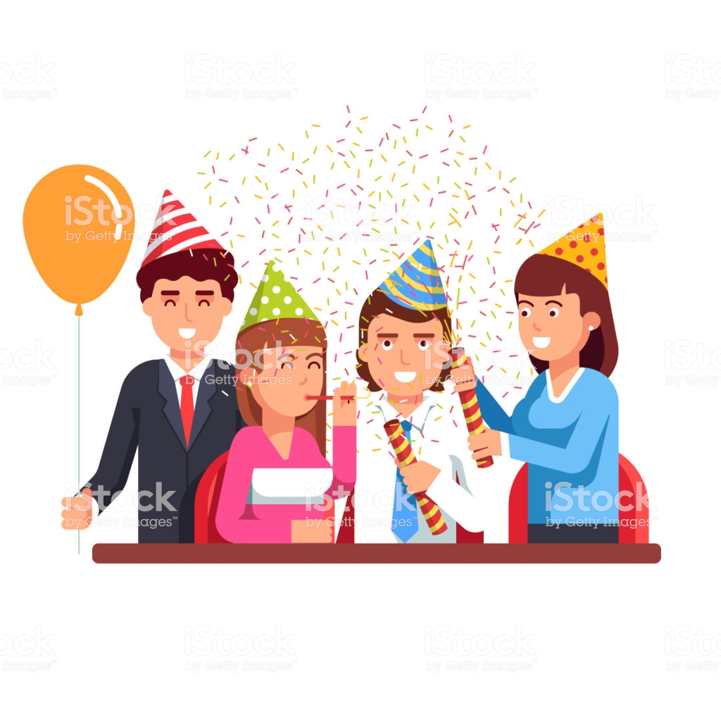 Business People Having Fun At Corporate Party Flat Vector Clipart.