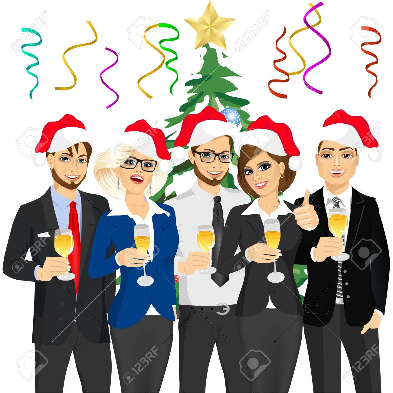 49176555 Business People Group Wearing Santa Hats At Corporate.