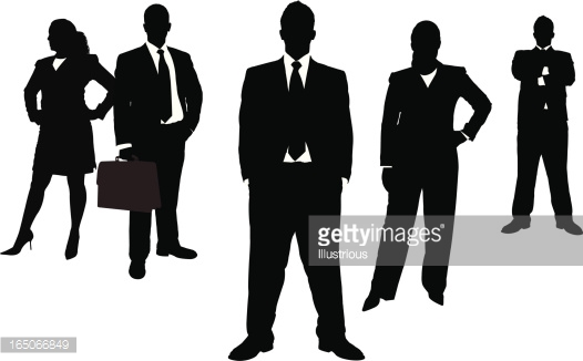 Black And White Silhouettes Of Business People Vector Art.