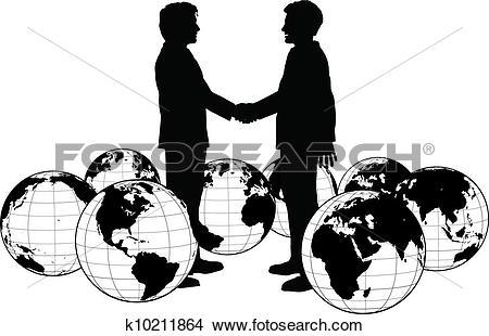 Clipart of Business people agreement global handshake k10211864.