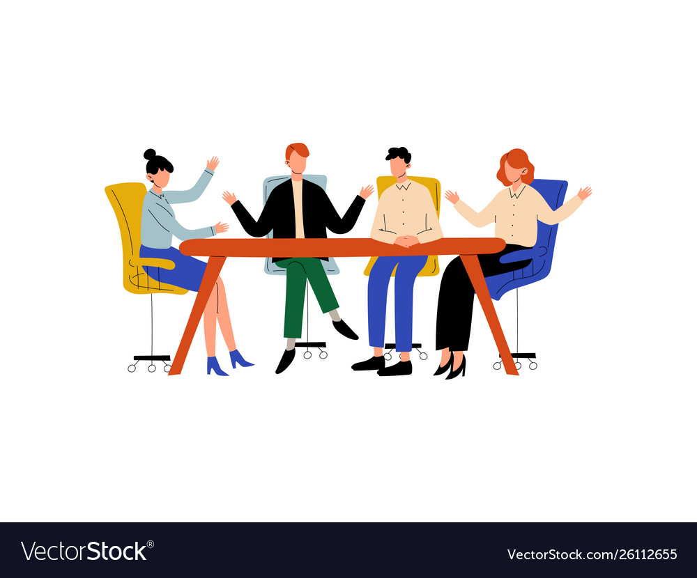 Business people sitting at desk and discussing.