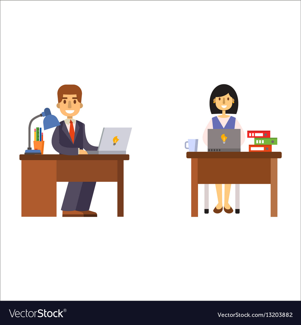 Business people man and woman sitting at office.