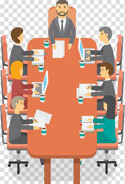 People sitting on conference table illustration, Meeting.