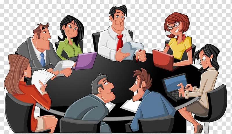 Men and women sitting beside table illustration, Table.