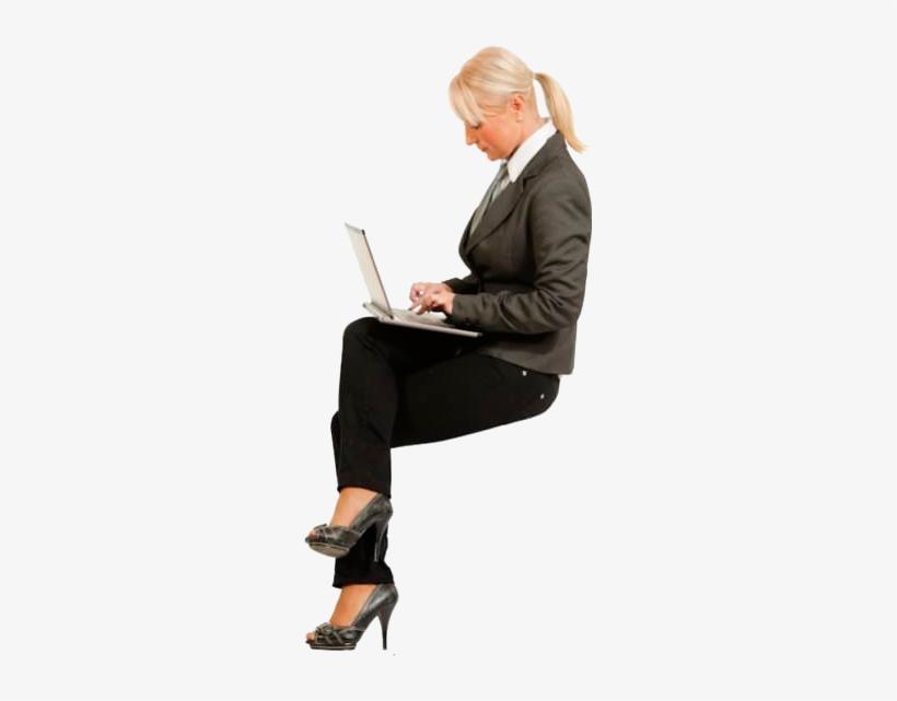 Cutout Woman Sitting Laptop People Cutout, People Png,.
