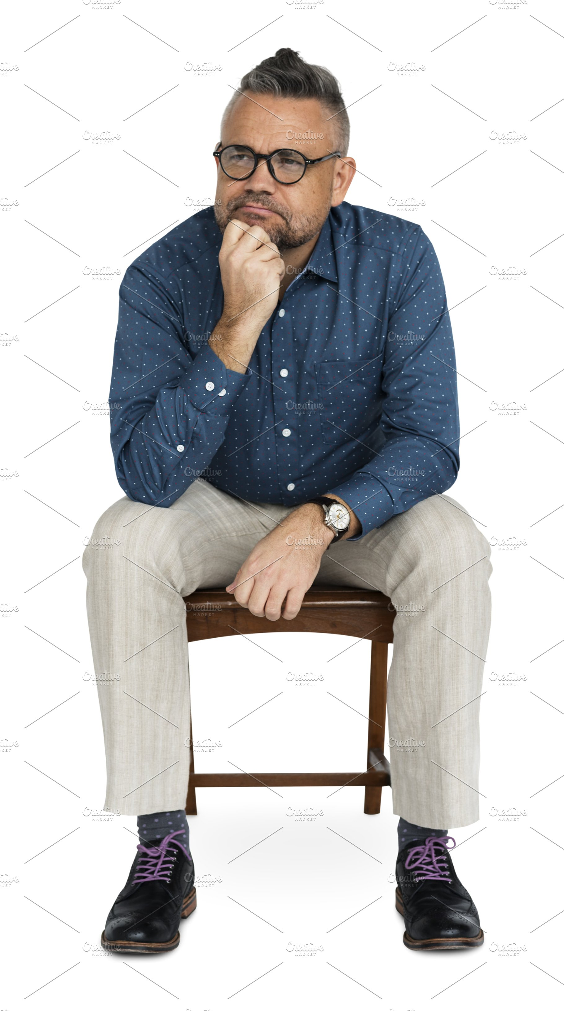 Business Man Sitting Thinking (PNG).
