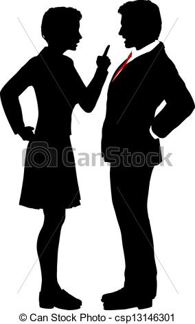 Vector Clipart of Business people fight argue talk disagreement.