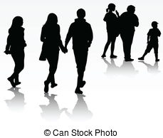 Vectors of Group of business people walking and talking.