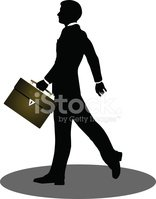 Business People Walking With Briefcase Silhouette Stock.
