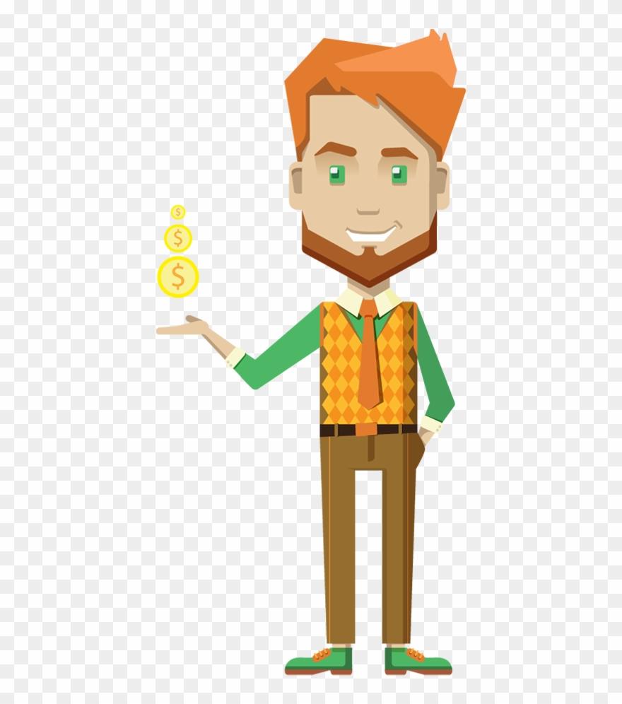 Cartoon Businessman Holding Money.