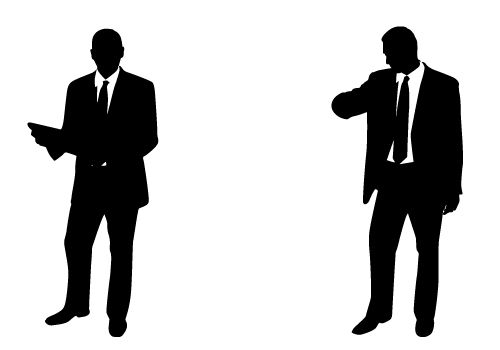 Professional and Handsome Businessman Silhouette Vector Free.