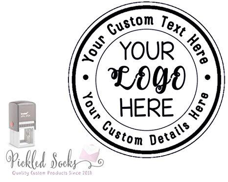 Custom Business Logo Double Round Border Stamp.