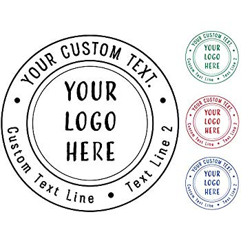 5+ Designs to Choose! Business Logo Double Round Border Stamp.