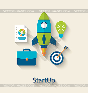 Concept of new business project startup development.