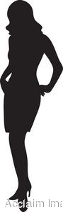 Clip Art of the Silhouette of a Woman Wearing a Skirt Suit.