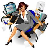 Clipart of Illustration of cute business lady in suit. k19435425.