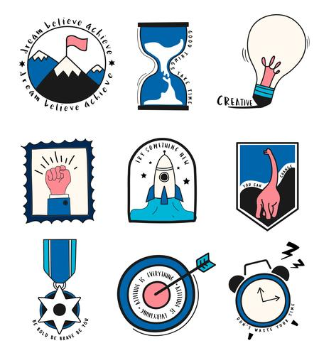 Hand drawn set of idea and business symbols illustration.