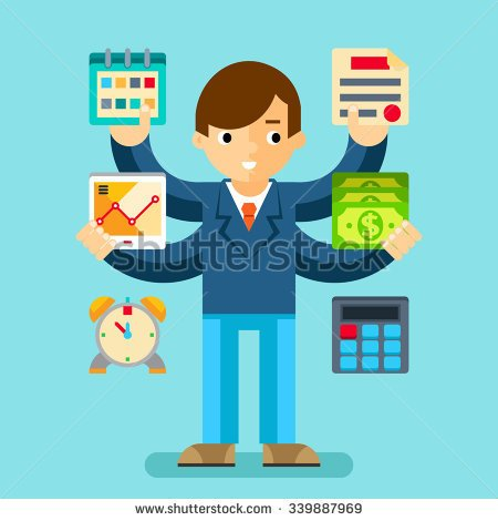 Business sales multi task icon clipart.