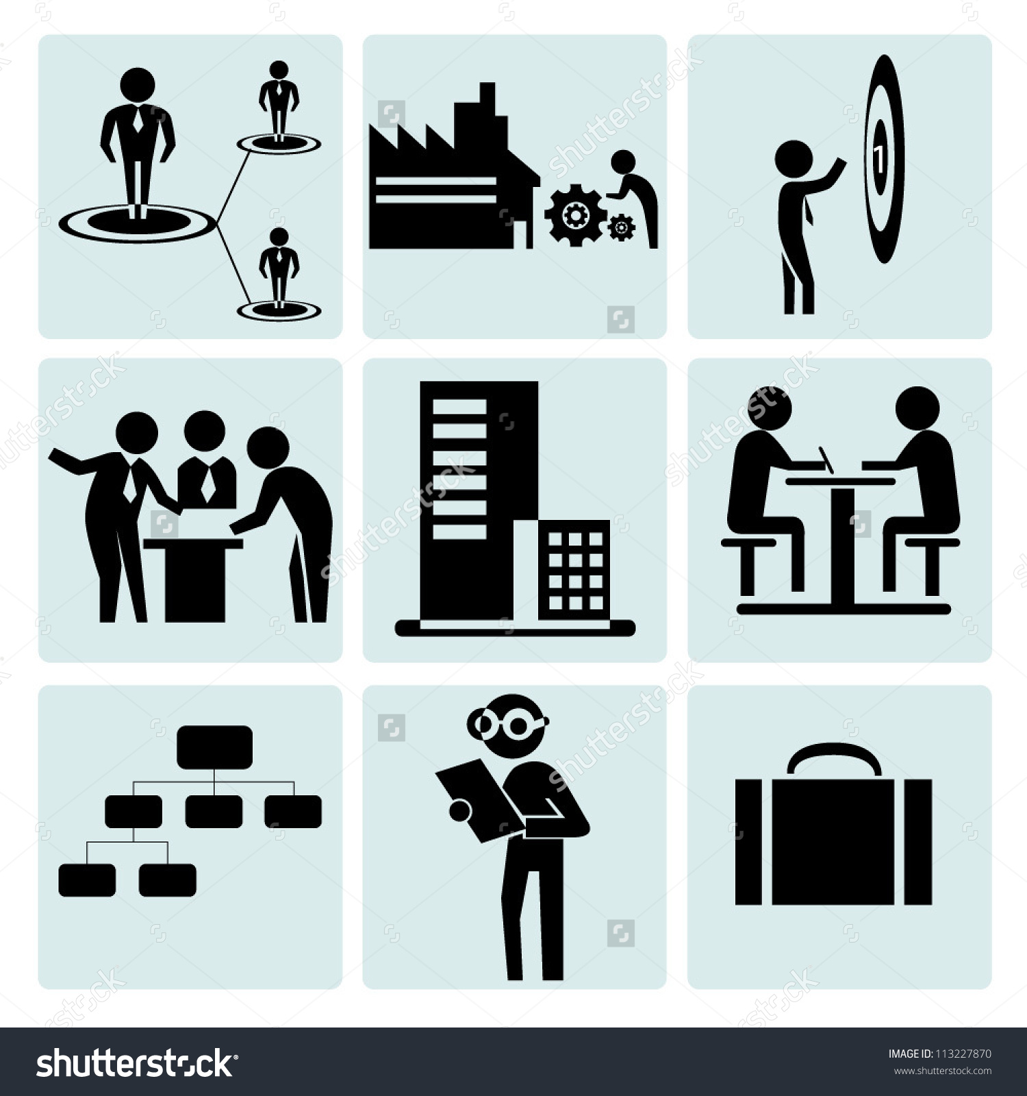 Working Task Operation Business Management Icon Stock Vector.