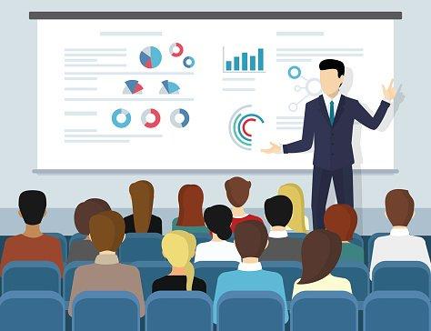 Business seminar speaker doing presentation and professional.