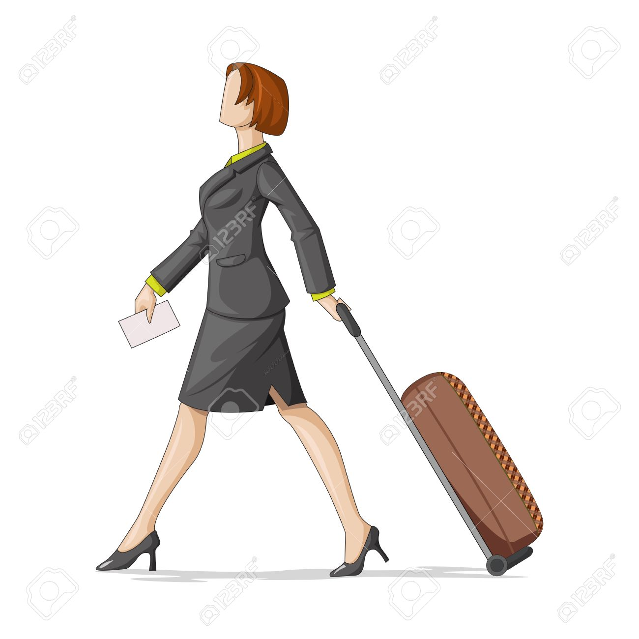 Vector Illustration Of Business Woman With Travel Bag Royalty Free.