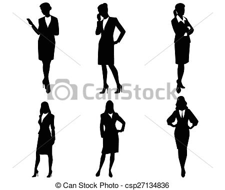 Four businesswoman silhouettes.