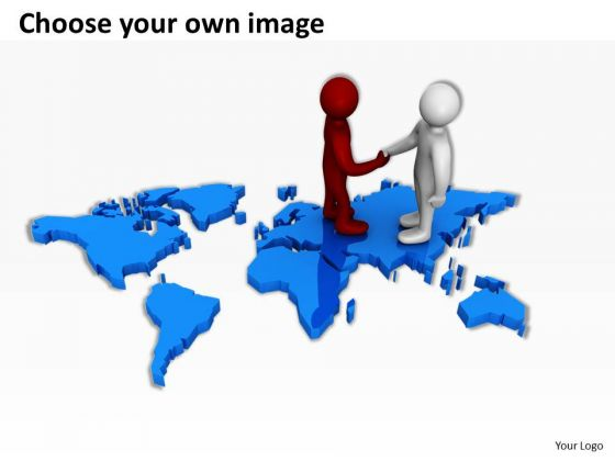 Business People Clip Art On World Map PowerPoint Presentations.