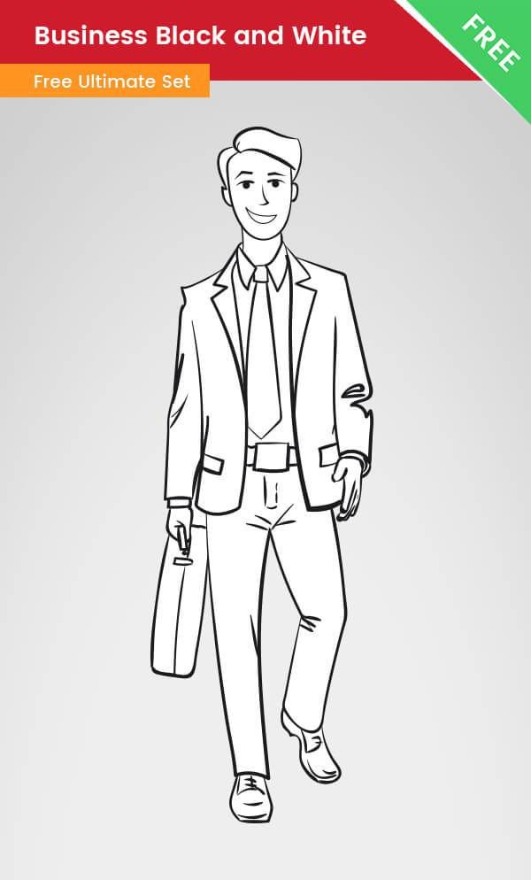 A Business clipart of a man made in black and white style.