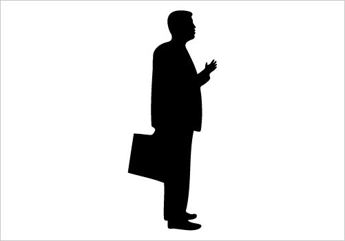 Businessman Silhouette Vector Standing Pose and having.