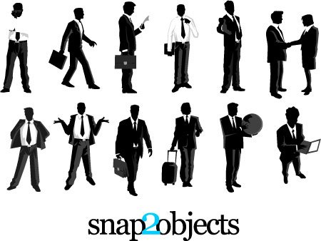 12 Free Vector Businessmen Silhouettes Pack 03 Clipart Picture.