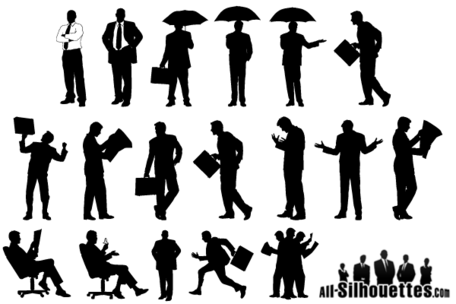 Silhouette Businessman Vector Free Download Clipart Picture.