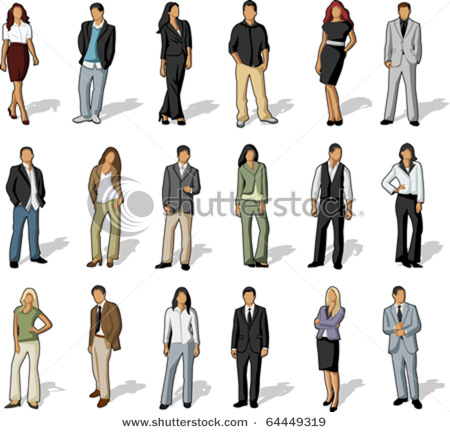 clip art illustration of business and office people, both.